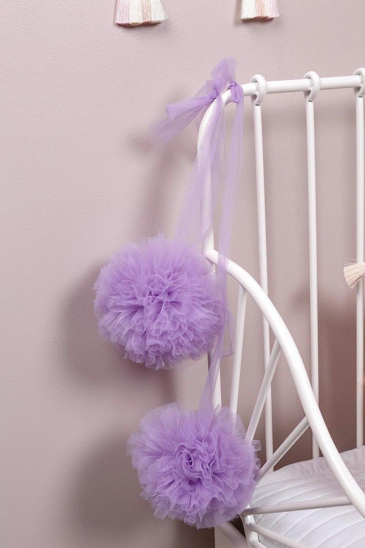 Violet Soft Tulle Pom Poms