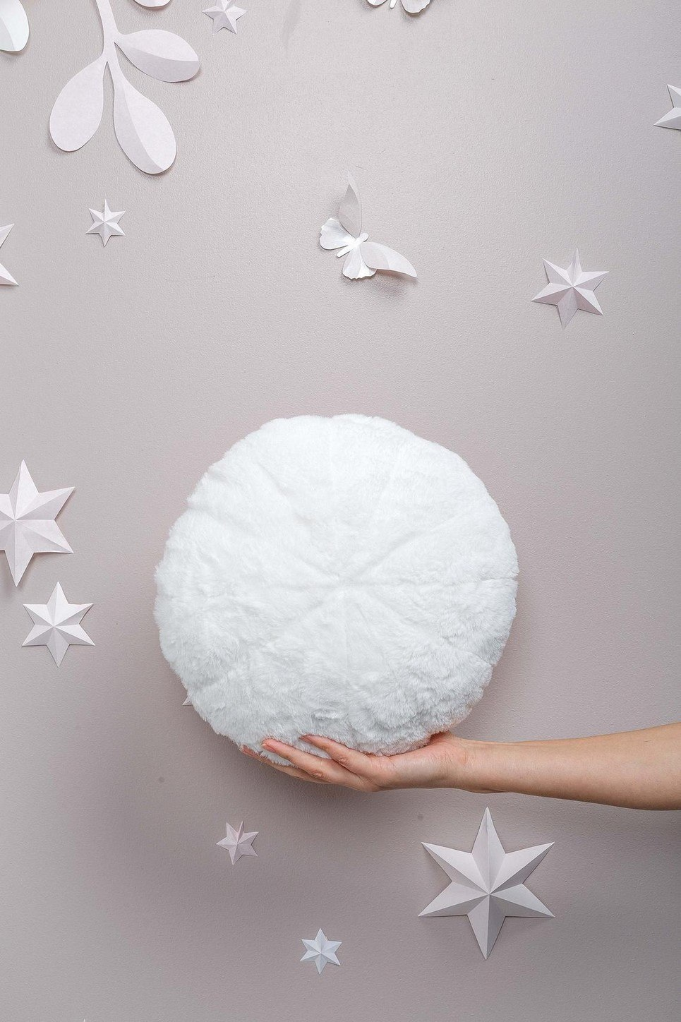 White Faux Fur Circle Pillow