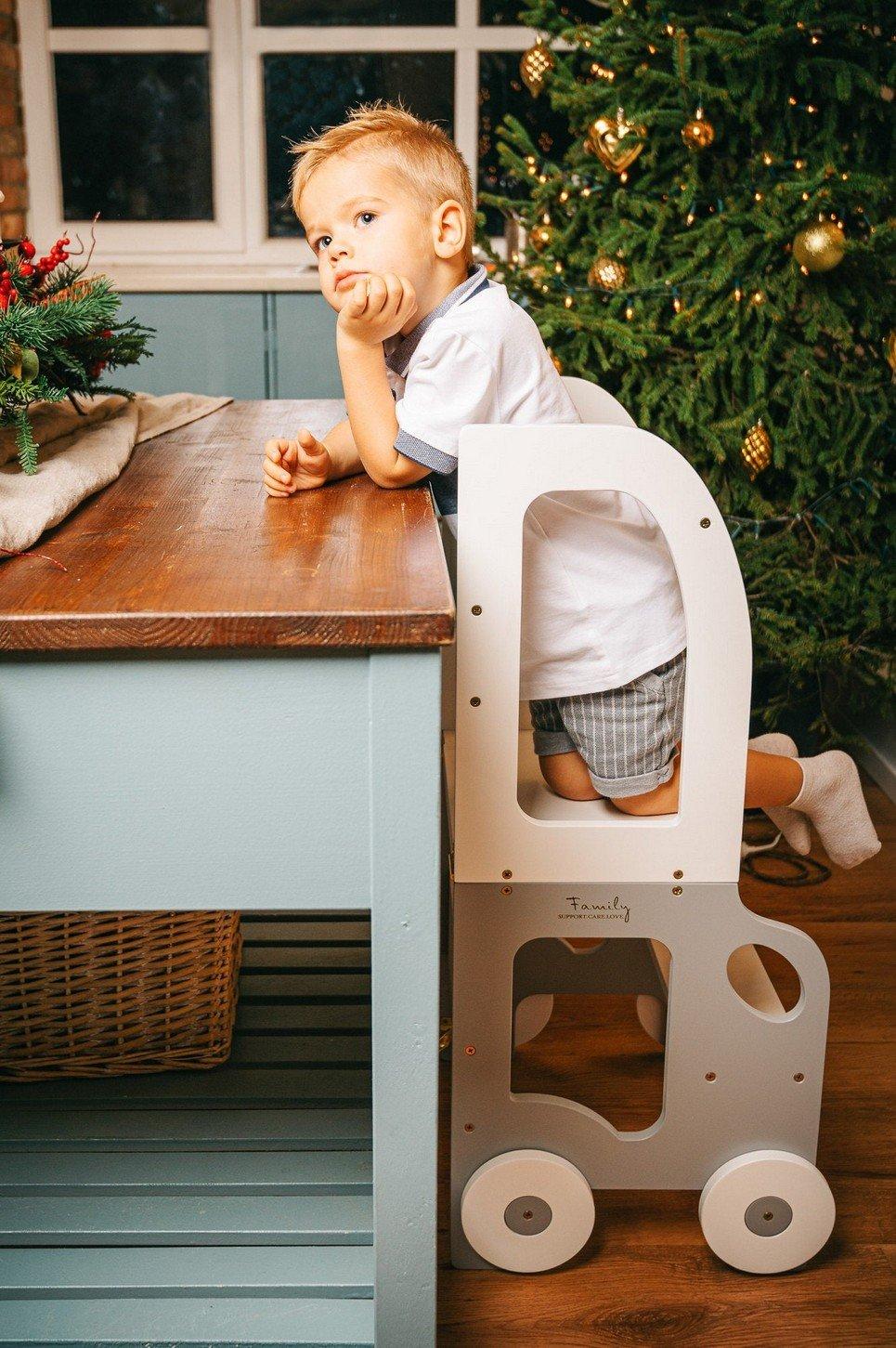 White Montessori Kitchen Step Stool