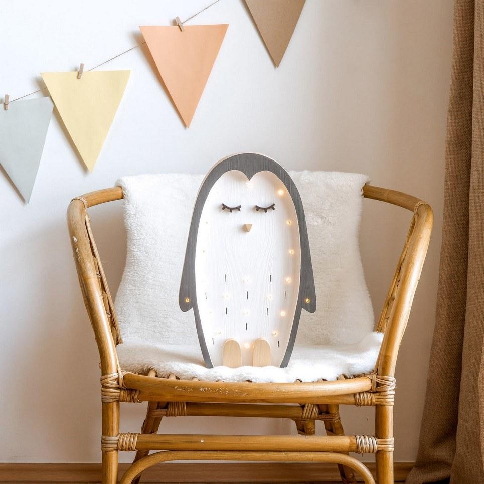 Wooden Penguin Lamp
