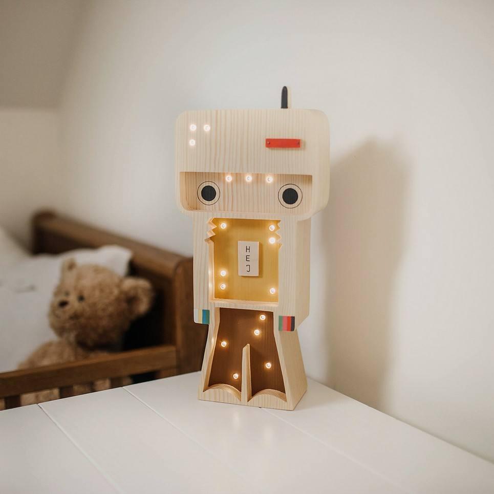 Wooden Robot Lamp