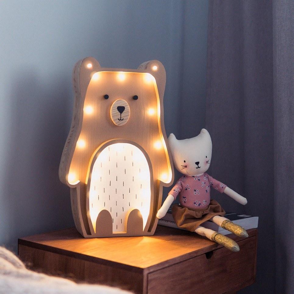 Wooden Teddy Bear Lamp
