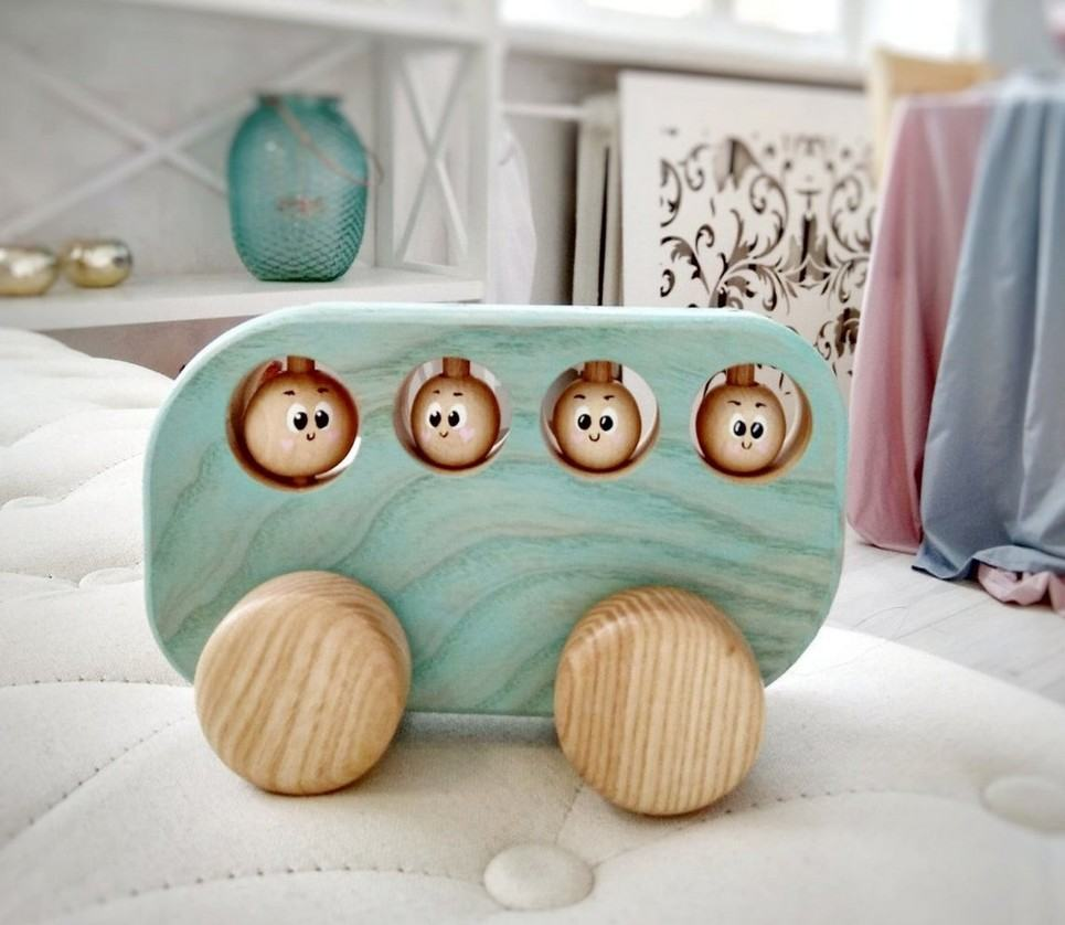 Blue Wooden Bus Push Toy