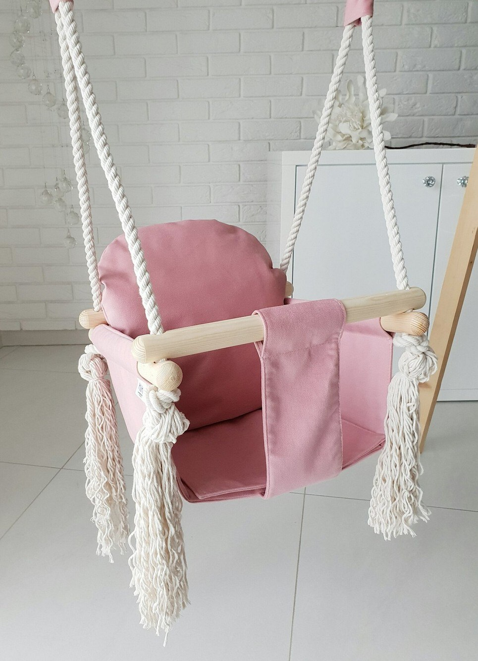 Candy Pink Velvet Bunny Wooden Swing