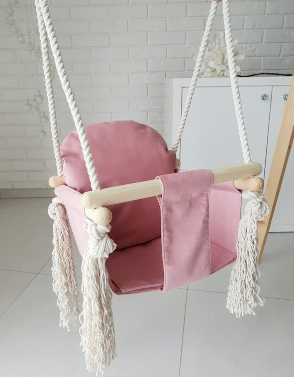 A favorite childhood toy, the Candy Pink Velvet Bunny Wooden Swing was designed with fun, fresh and modern style in mind. Keep your little ones entertained with this super fun swings.