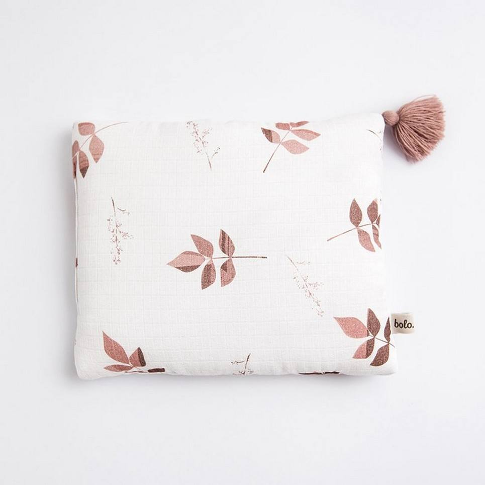Dirty Pink Leaves Baby Muslin Pillow