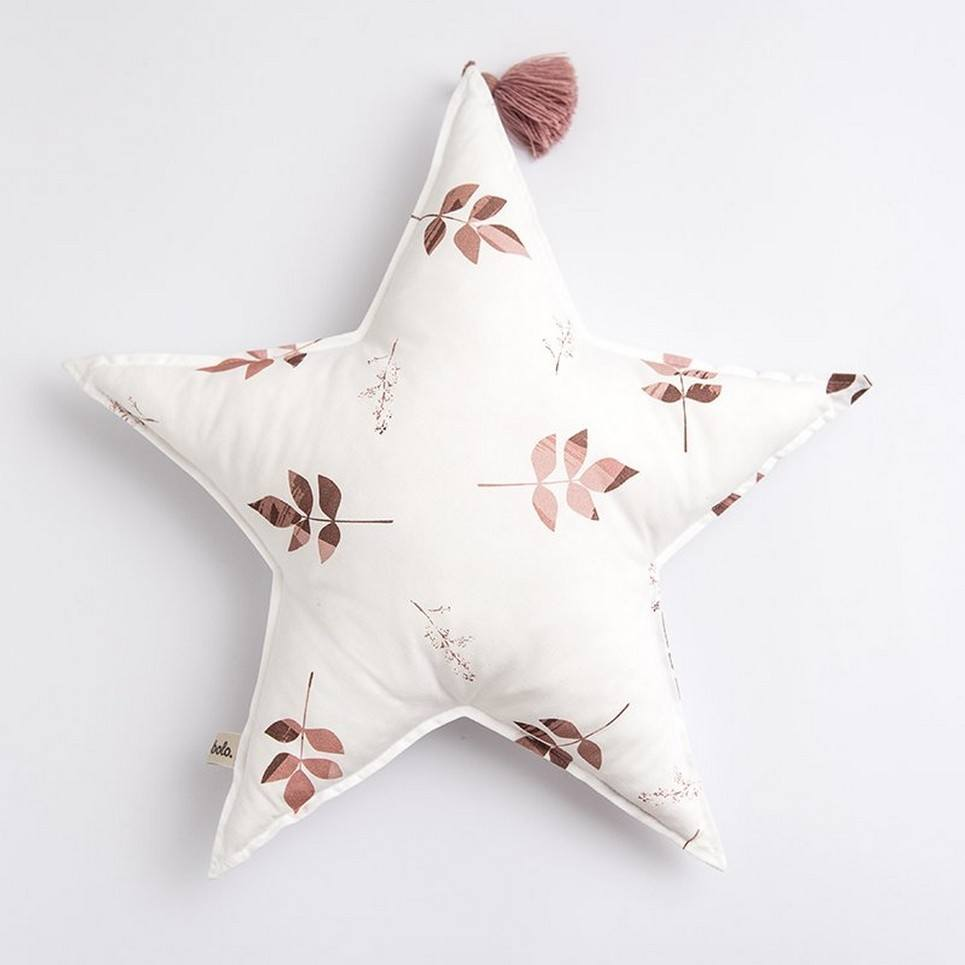 Dirty Pink Leaves Baby Star Pillow