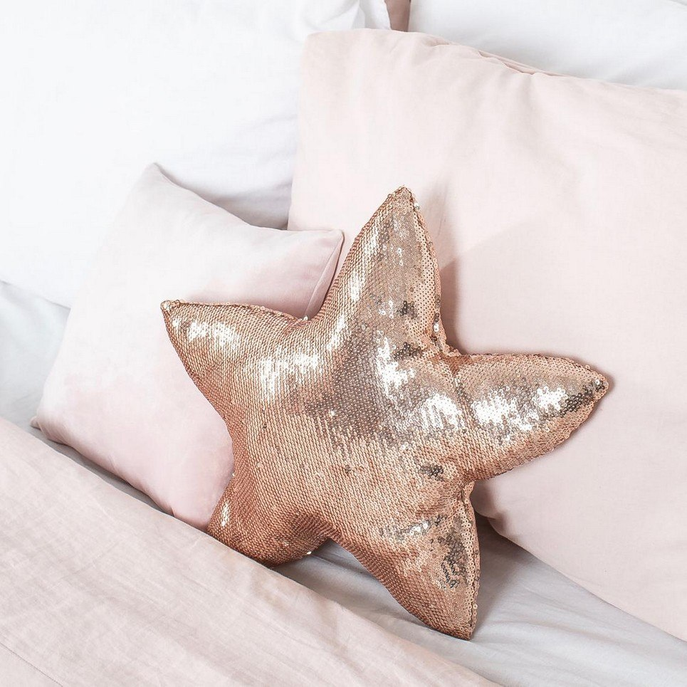 Gold Sequins Star Decor Pillow