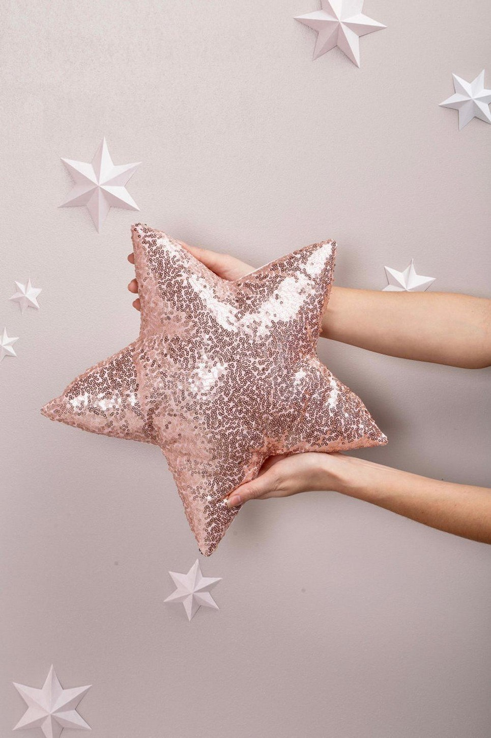 Pink Sequins Star Decor Pillow