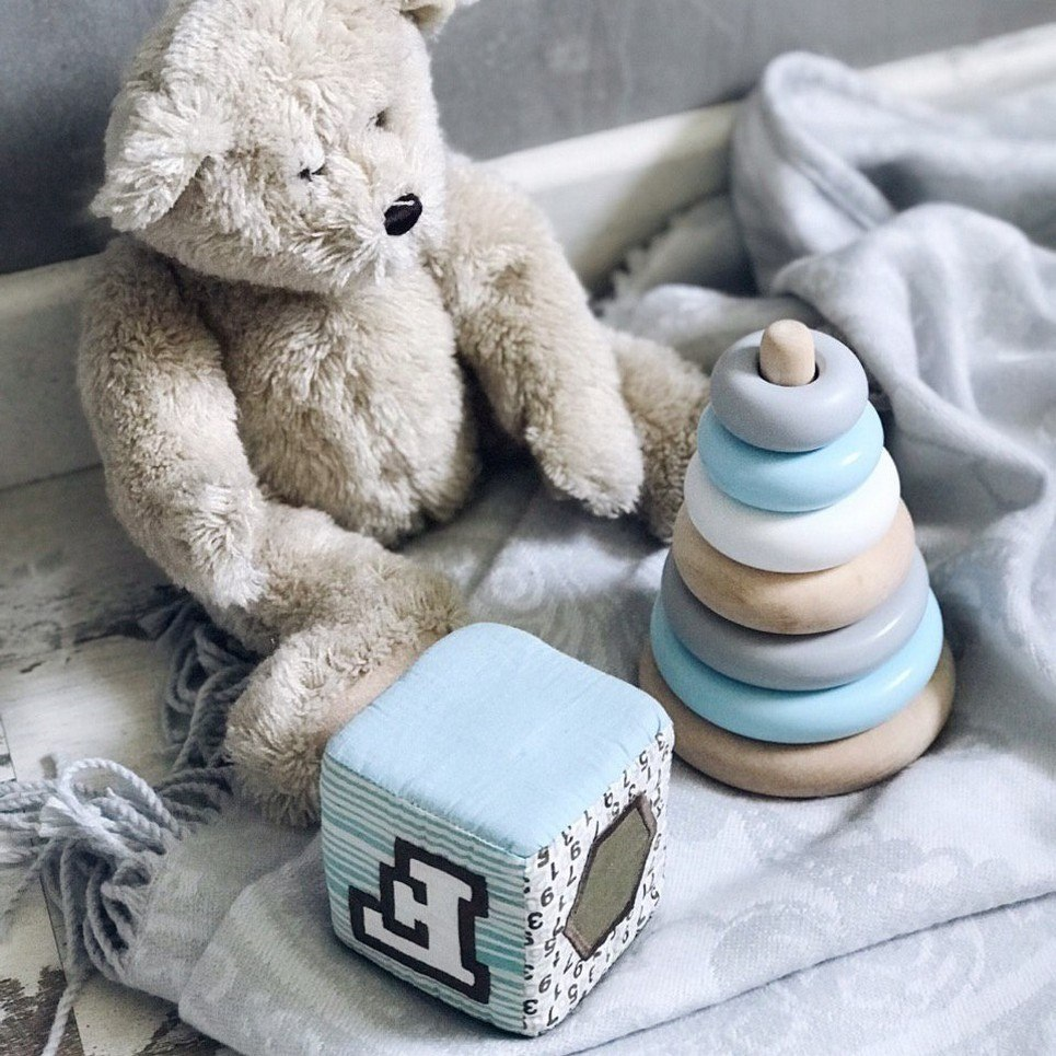 Wooden Blue Ring Stacker Toy