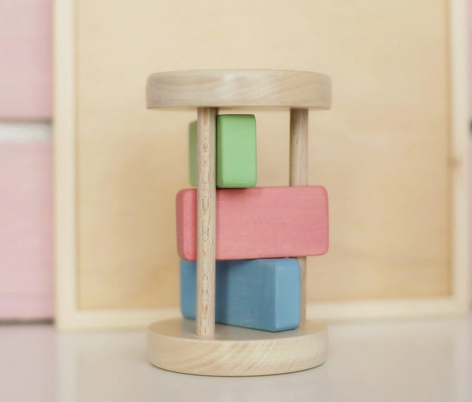 Wooden Montessori Baby Rattle for Boys