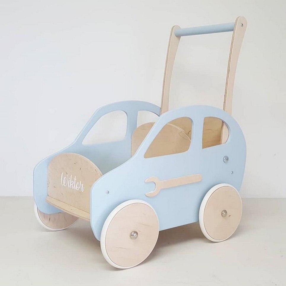 Blue Cloud Personalised Wooden Baby Walker