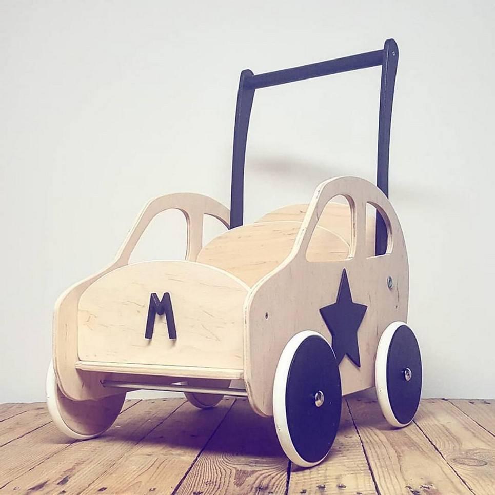 Brown Personalised Wooden Baby Walker