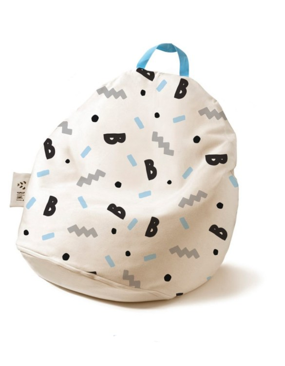 A charming little seat, the Double B-Boy with Blue Handle Kid's Beanbag is an ideal solution to create a custom, stylish space for a children's room, youth room, or even a living room.