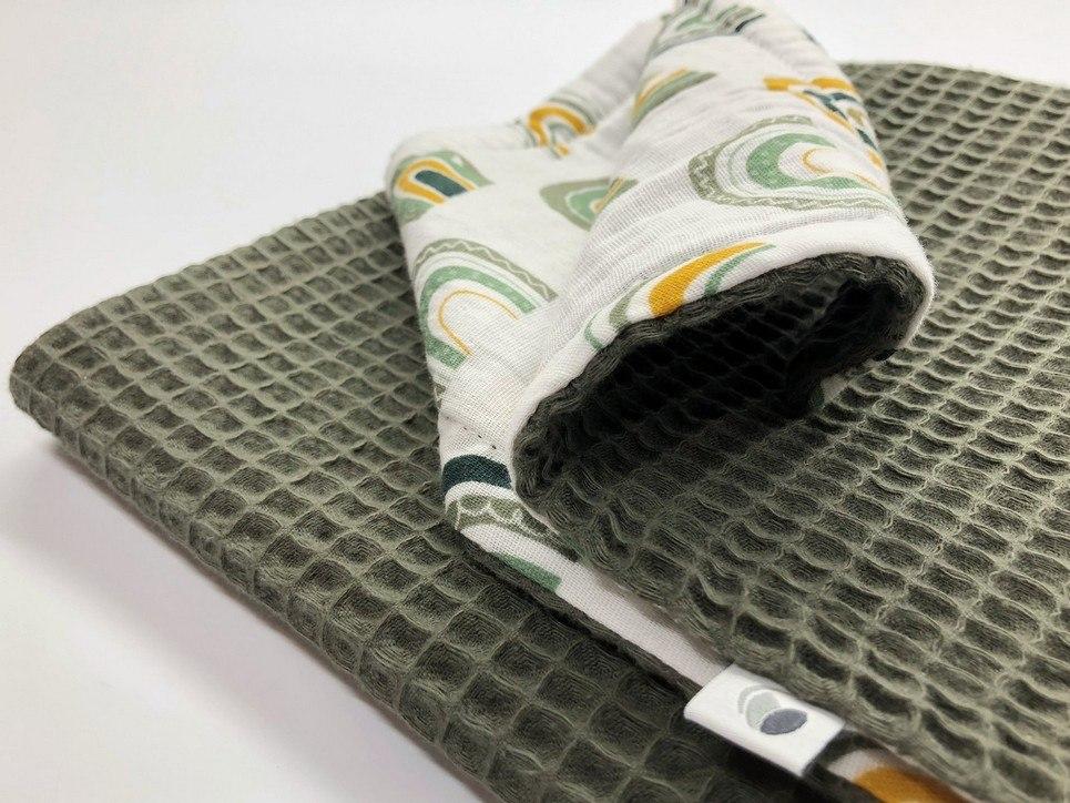 Army Green Rainbow Waffle Blanket