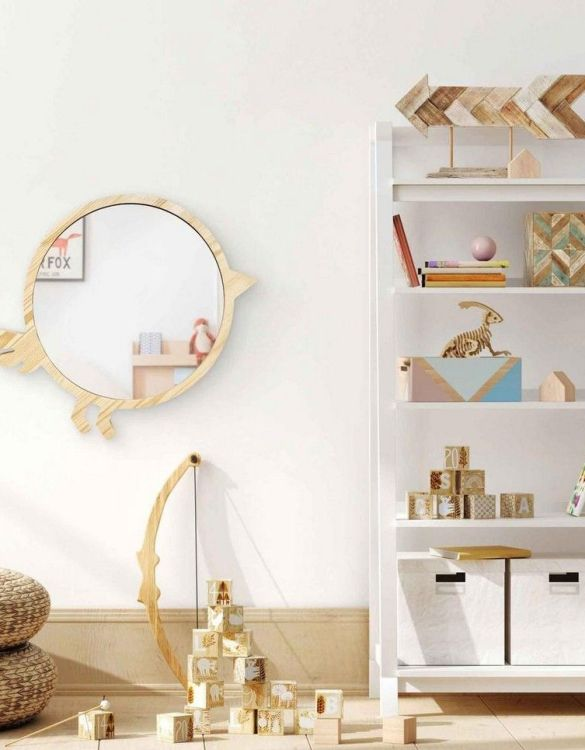 A modern design that will please you and your little one, the Big Solid Pinewood Mirror Bird fits perfectly in the nursery or kids' room. Safe and unbreakable acrylic mirror made of high-quality solid pinewood.