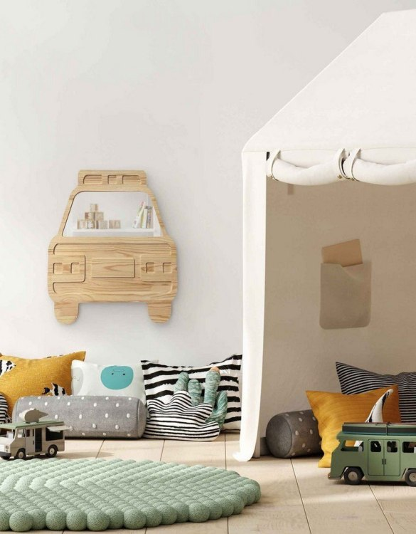 A modern design that will please you and your little one, the Big Solid Pinewood Mirror Car fits perfectly in the nursery or kids' room. Safe and unbreakable acrylic mirror made of high-quality solid pinewood.