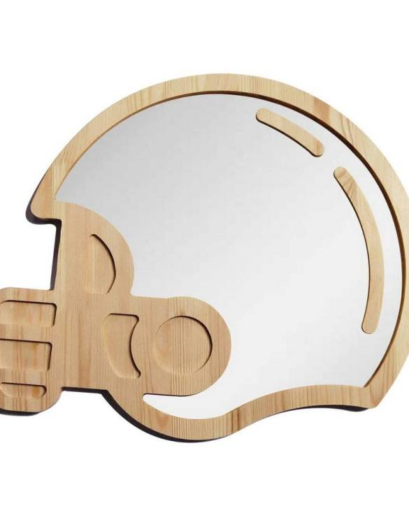 A modern design that will please you and your little one, the Big Solid Pinewood Mirror Sport Helmet fits perfectly in the nursery or kids' room. Safe and unbreakable acrylic mirror made of high-quality solid pinewood.