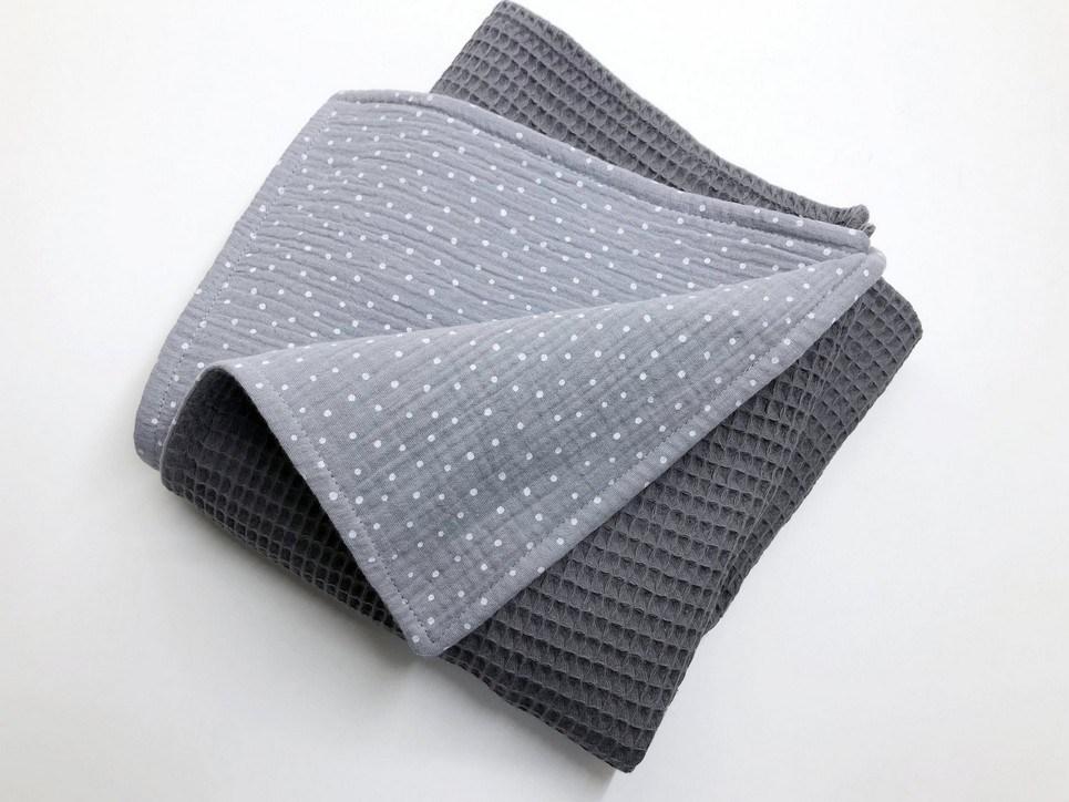 Grey Dot Waffle Blanket