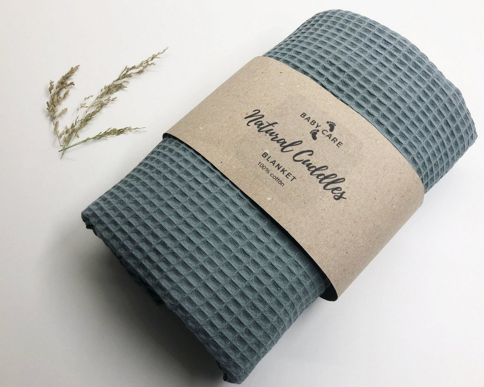 Old Green – Sea Green Waffle Blanket