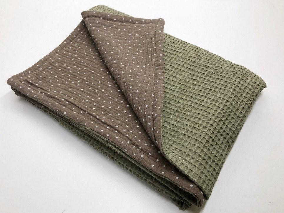 Olive Dot Waffle Blanket
