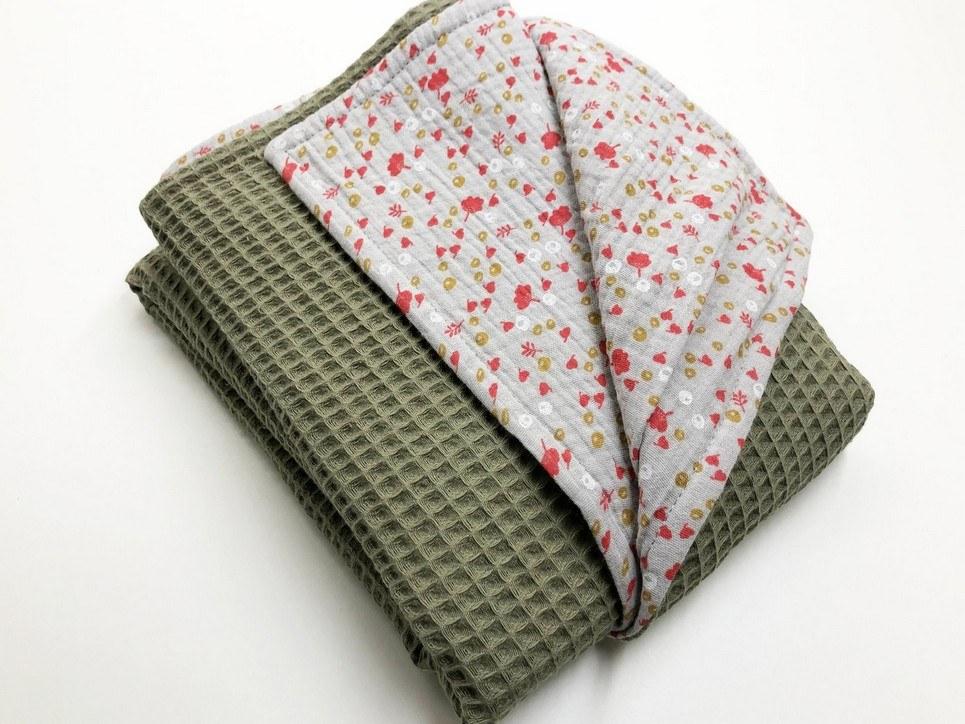 Olive Flower Waffle Blanket