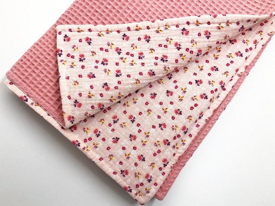 Pink Flower Waffle Blanket