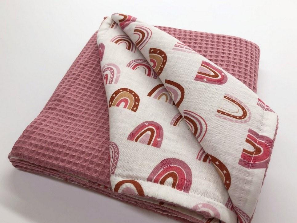 Pink Rainbow Waffle Blanket