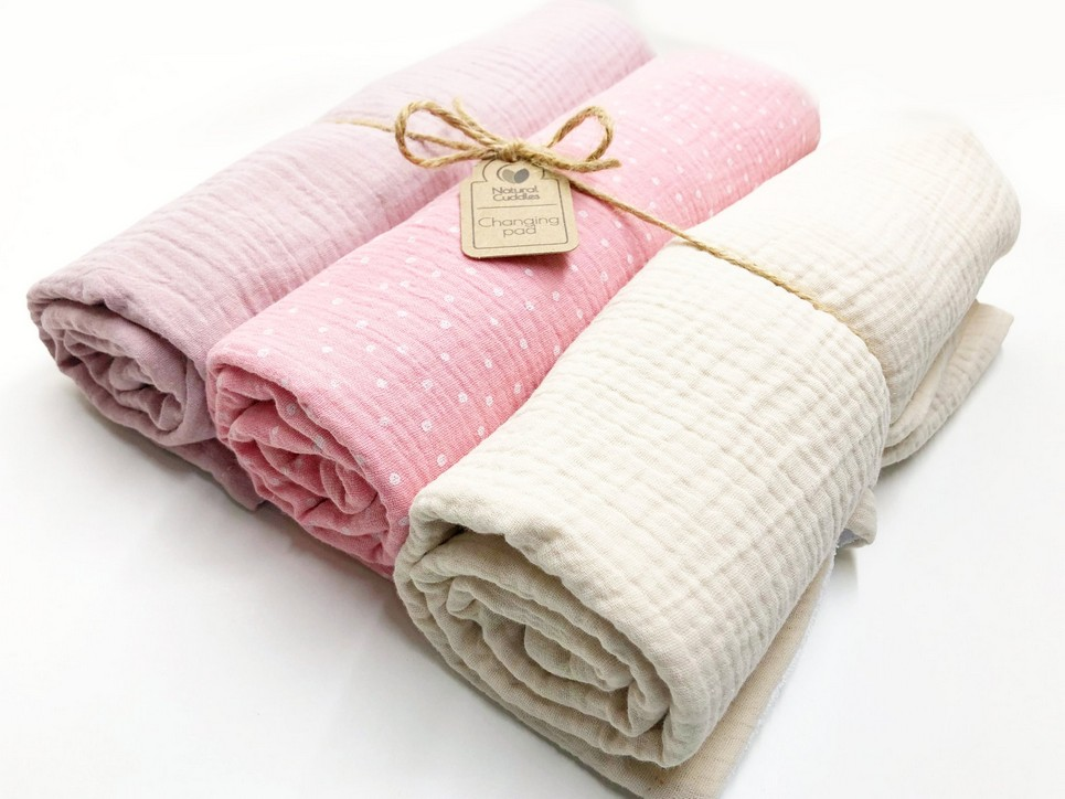 Set of 3 Pink Changing Pads