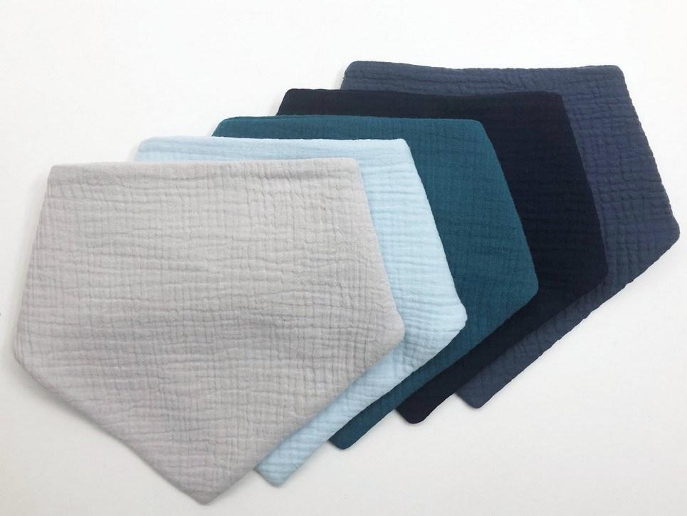 Set of 5 Blue Baby Bandana Bibs