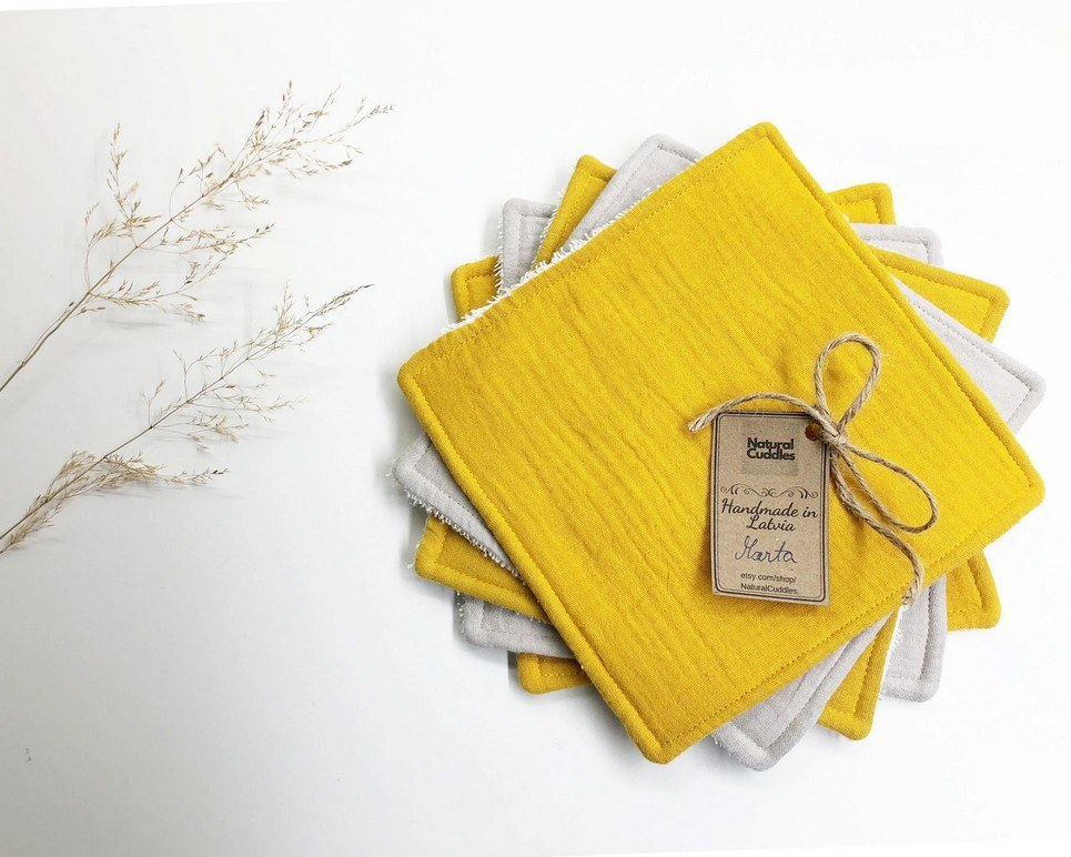 Set of 5 Yellow Reusable Baby Wipes