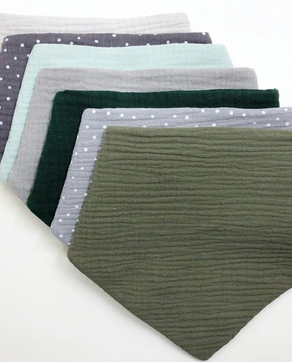 Specially designed to fit newborn to toddler, the Set of 7 Green Polka Baby Bandana Bibs is very cute and very practical. As everyone knows, a baby can never have too many bibs!