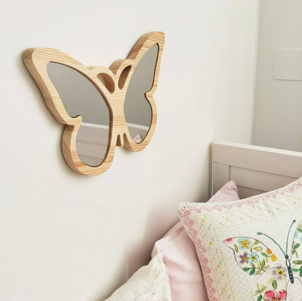 Solid Pinewood Mirror Butterfly