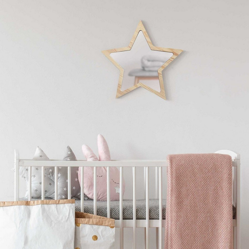 Solid Pinewood Mirror Star
