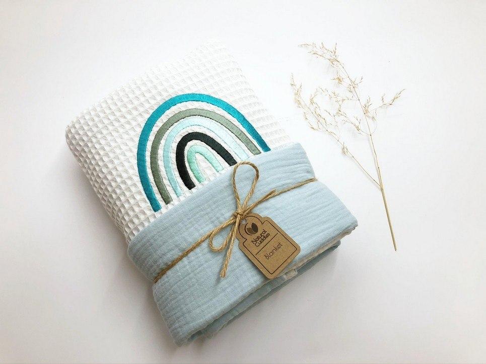 White – Blue Rainbow Waffle Blanket