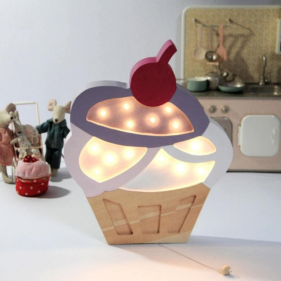 Wooden Cupcake Lamp