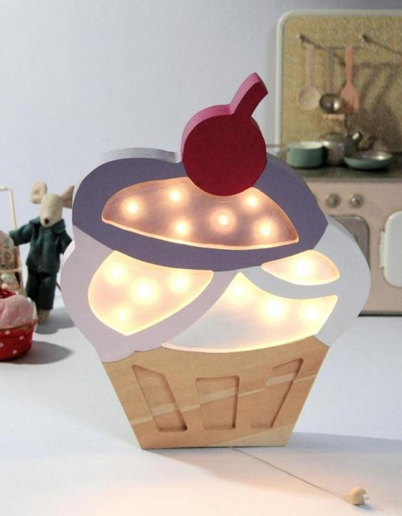 Creating a special and warming atmosphere in your bedroom, the Wooden Cupcake Lamp is ideal for a night light or as a gift. This delicious-looking cupcake will make a unique decoration in your kitchen or a café. It will also sweeten your child's room. Sweet dreams warranty attached.