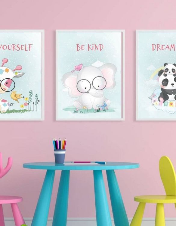 Perfect for a birthday or Christmas present, the Be Yourself Decorative Children Illustration Set is a really unique and eyecatching print that is loved by kids and adults. This print would make an ideal new baby gift or a very sweet birthday present for a baby or toddler.