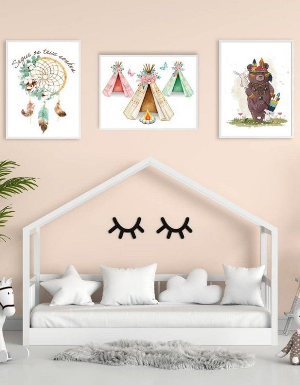 Perfect for a birthday or Christmas present, the Boho Decorative Children Illustration Set is a really unique and eyecatching print that is loved by kids and adults. This print would make an ideal new baby gift or a very sweet birthday present for a baby or toddler.