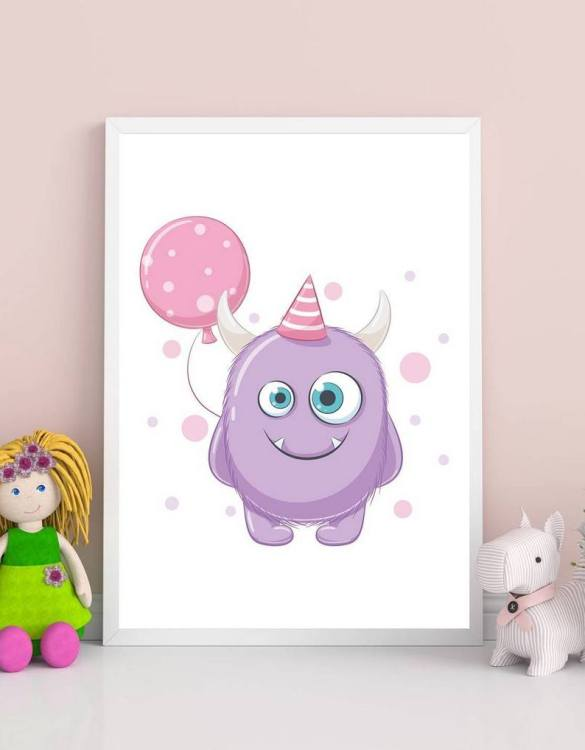 Perfect for a birthday or Christmas present, the Cute Monster Decorative Children Illustration is a really unique and eyecatching print that is loved by kids and adults. This print would make an ideal new baby gift or a very sweet birthday present for a baby or toddler.