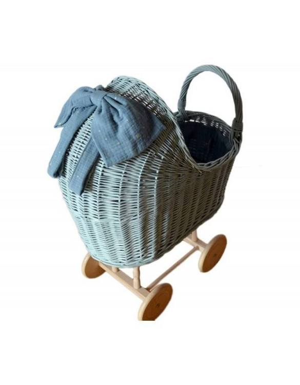 "Gorgeous wicker stroller for a doll, the Dirty Mint High Wicker Doll Pram will be a favourite toy in no time. Such stroller is a great fun for every little ""mom"" and at the same time a 100% stylish, ecological and Polish toy."