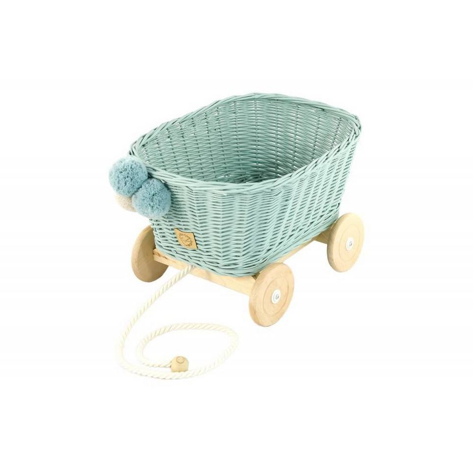 Dirty Mint Wicker Pull Cart
