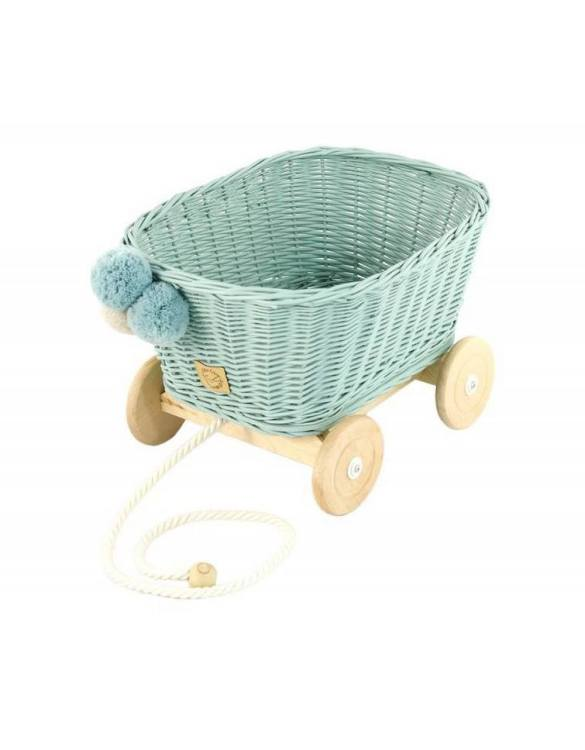 A healthy alternative to other toys, the Dirty Mint Wicker Pull Cart is an artistic handicraft with perfectly selected details. The wicker stroller will not only be a great toy, but also an extraordinary decoration for a child's room.