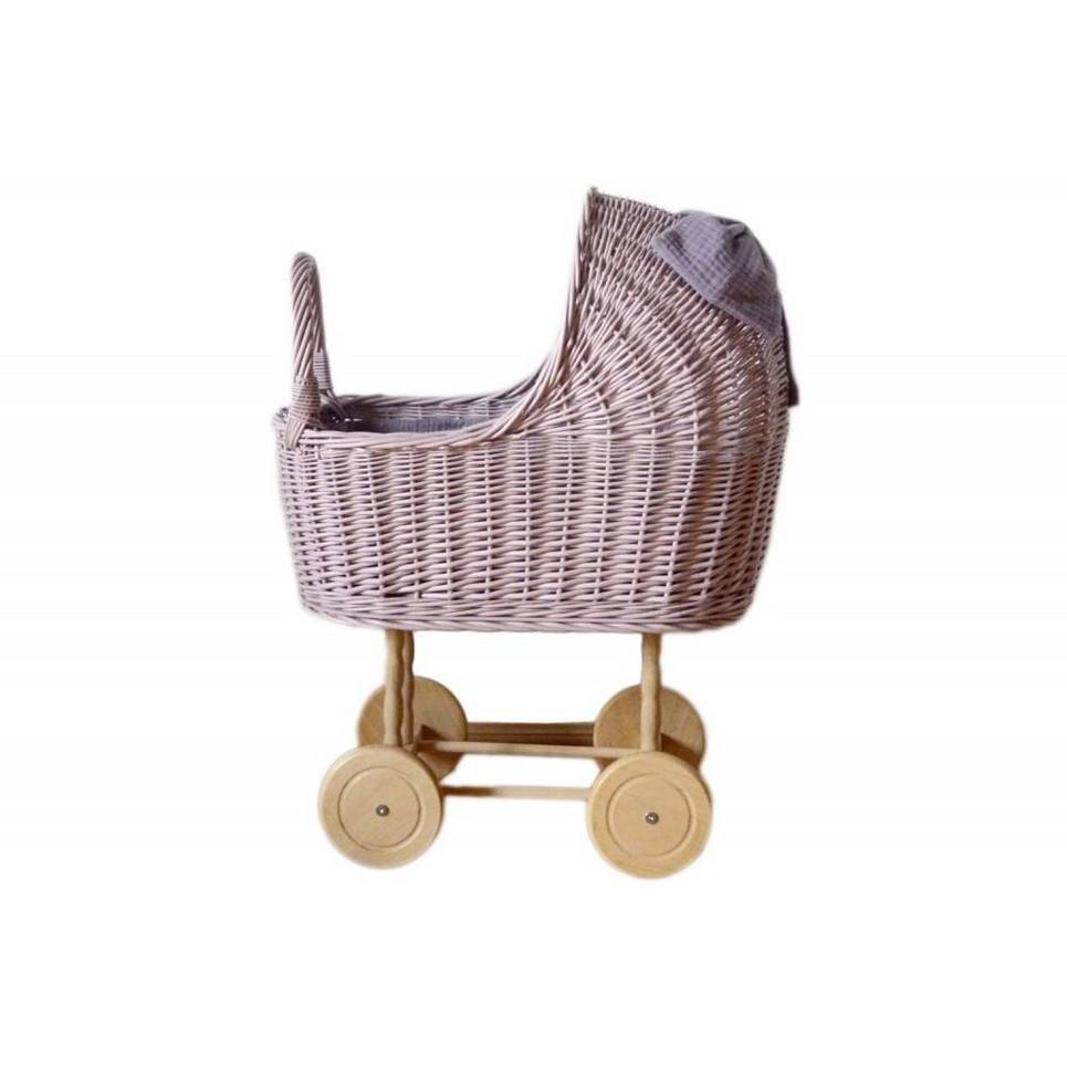 Dirty Pink High Wicker Doll Pram