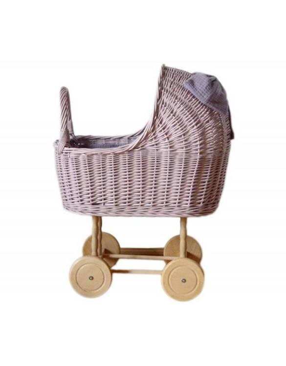 "Gorgeous wicker stroller for a doll, the Dirty Pink High Wicker Doll Pram will be a favourite toy in no time. Such stroller is a great fun for every little ""mom"" and at the same time a 100% stylish, ecological and Polish toy."