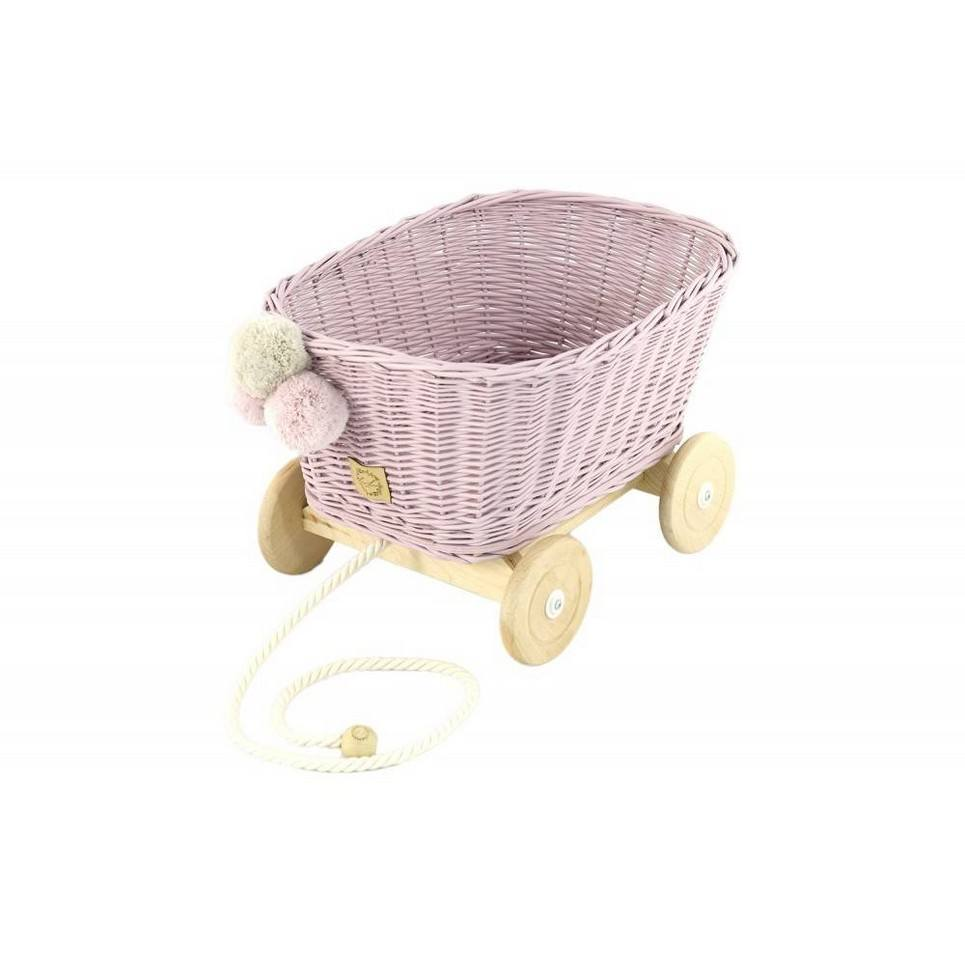 Dirty Pink Wicker Pull Cart