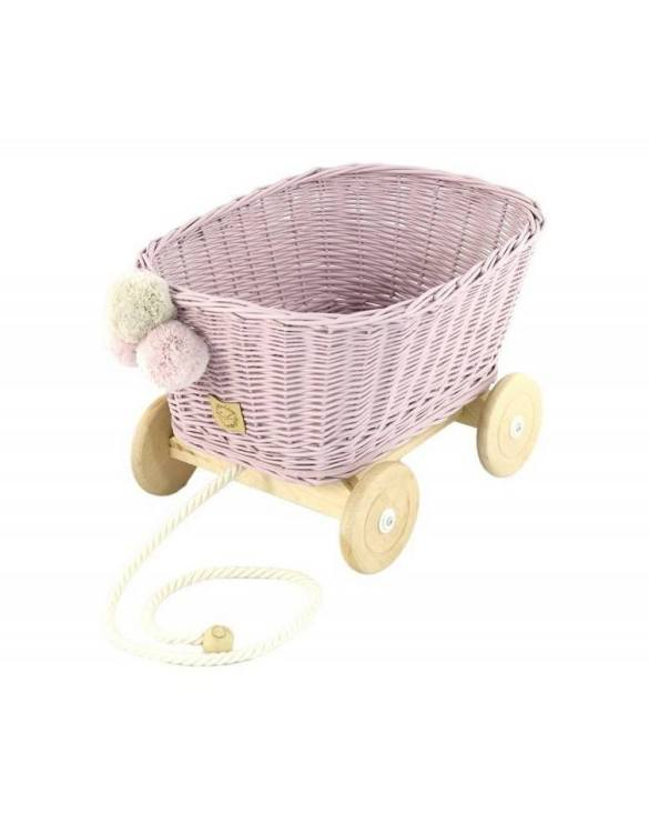 A healthy alternative to other toys, the Dirty Pink Wicker Pull Cart is an artistic handicraft with perfectly selected details. The wicker stroller will not only be a great toy, but also an extraordinary decoration for a child's room.