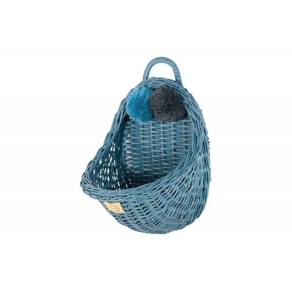 Dusty Blue Maalum Wicker Wall Basket
