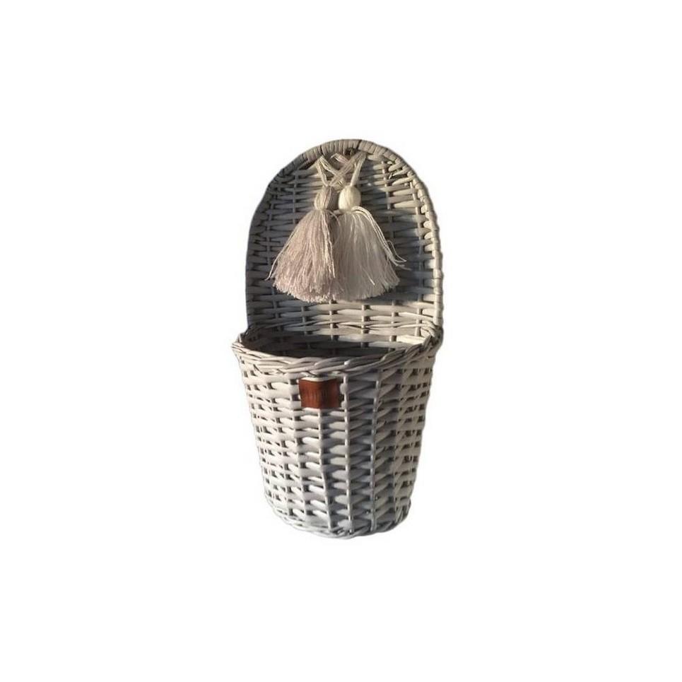 Gray Lu Wicker Wall Basket