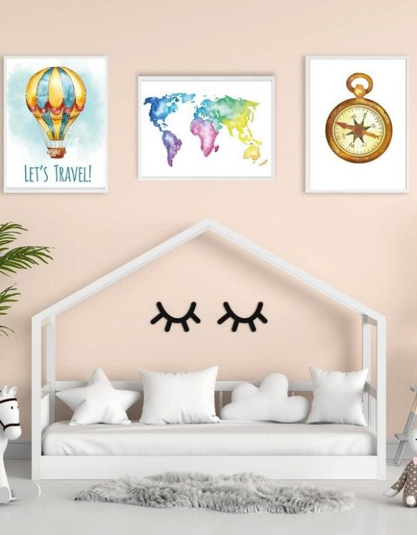 Perfect for a birthday or Christmas present, the Let's Travel Decorative Children Illustration Set is a really unique and eyecatching print that is loved by kids and adults. This print would make an ideal new baby gift or a very sweet birthday present for a baby or toddler.